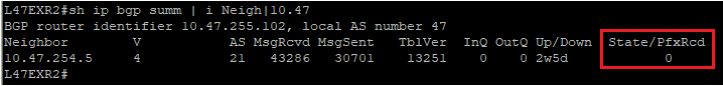 """Output of """"show ip bgp summ"""" showing we can see the neigbor in the list, but in State/PfxRcd it shows 0."""